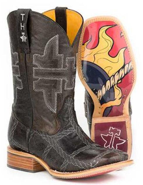 Tin Haul Boys' 8-Ball Rope Burn Cowboy Boots - Square Toe, Brown, hi-res