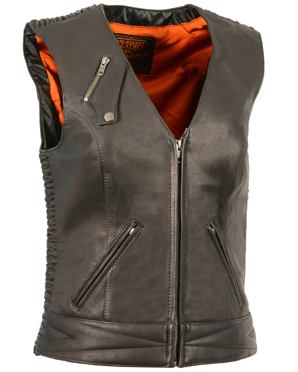 Milwaukee Leather Women's Lightweight Crinkle Snap Front Vest - 5X, , hi-res