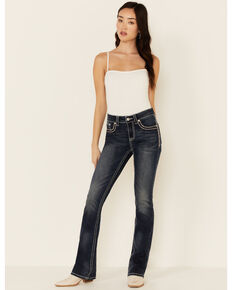 Grace in LA Women's Peach Print Bootcut Jeans, Blue, hi-res