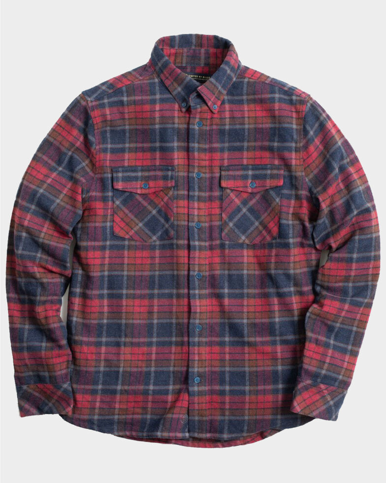 United By Blue Men's Brownstone Responsible Striped Long Sleeve Western Flannel Shirt , Red, hi-res