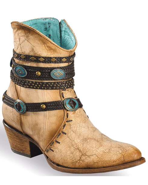 Corral Women's Ivory Bone Zipper and Studded Harness Ankle Boots - Round Toe, Beige/khaki, hi-res