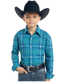 Rough Stock by Panhandle Boys' Andover Ombre Stretch Plaid Long Sleeve Western Shirt , Turquoise, hi-res