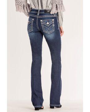 Miss Me Women's Criss-Crossed Mid-Rise Boot Cut Jeans , Blue, hi-res