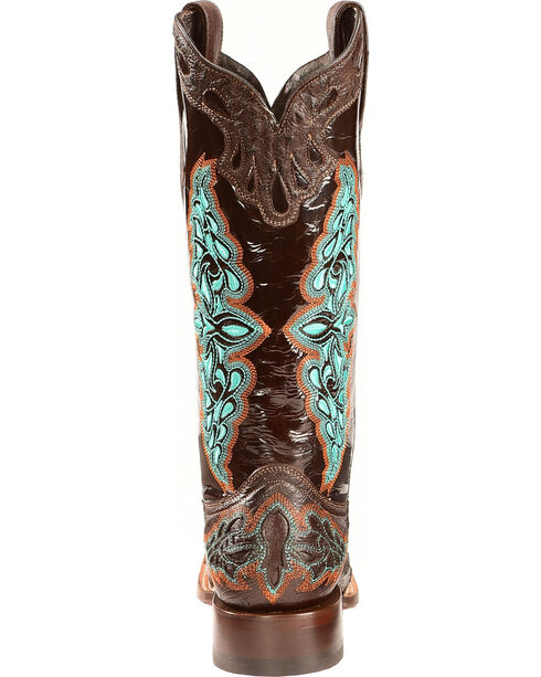 Lucchese Women's Chocolate Amberlyn Full Quill Ostrich Boots - Square Toe , Chocolate, hi-res