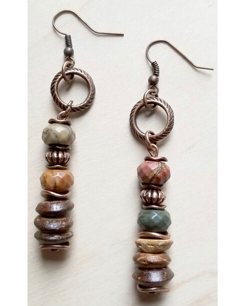 Jewelry Junkie Women's Red Picasso Jasper and Wood Earrings, Brown, hi-res