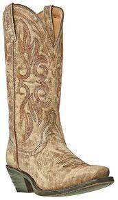 Laredo Crackle Goat Skin Cowgirl Boots - Snip Toe, Tan, hi-res