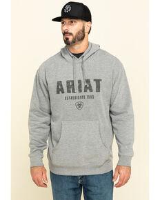 Ariat Men's Grey Digi Logo Hooded Sweatshirt , Grey, hi-res