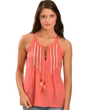 Miss Me Women's Feather Tie Crepe Sleeveless Top, Coral, hi-res