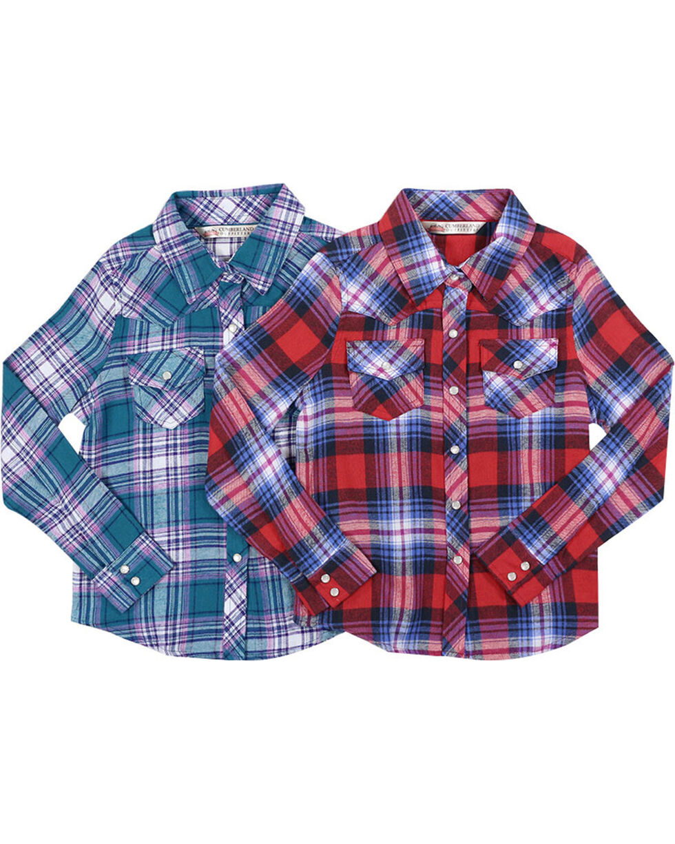 Ely Cattleman Girls' Assorted Flannel Plaid Shirt , Multi, hi-res