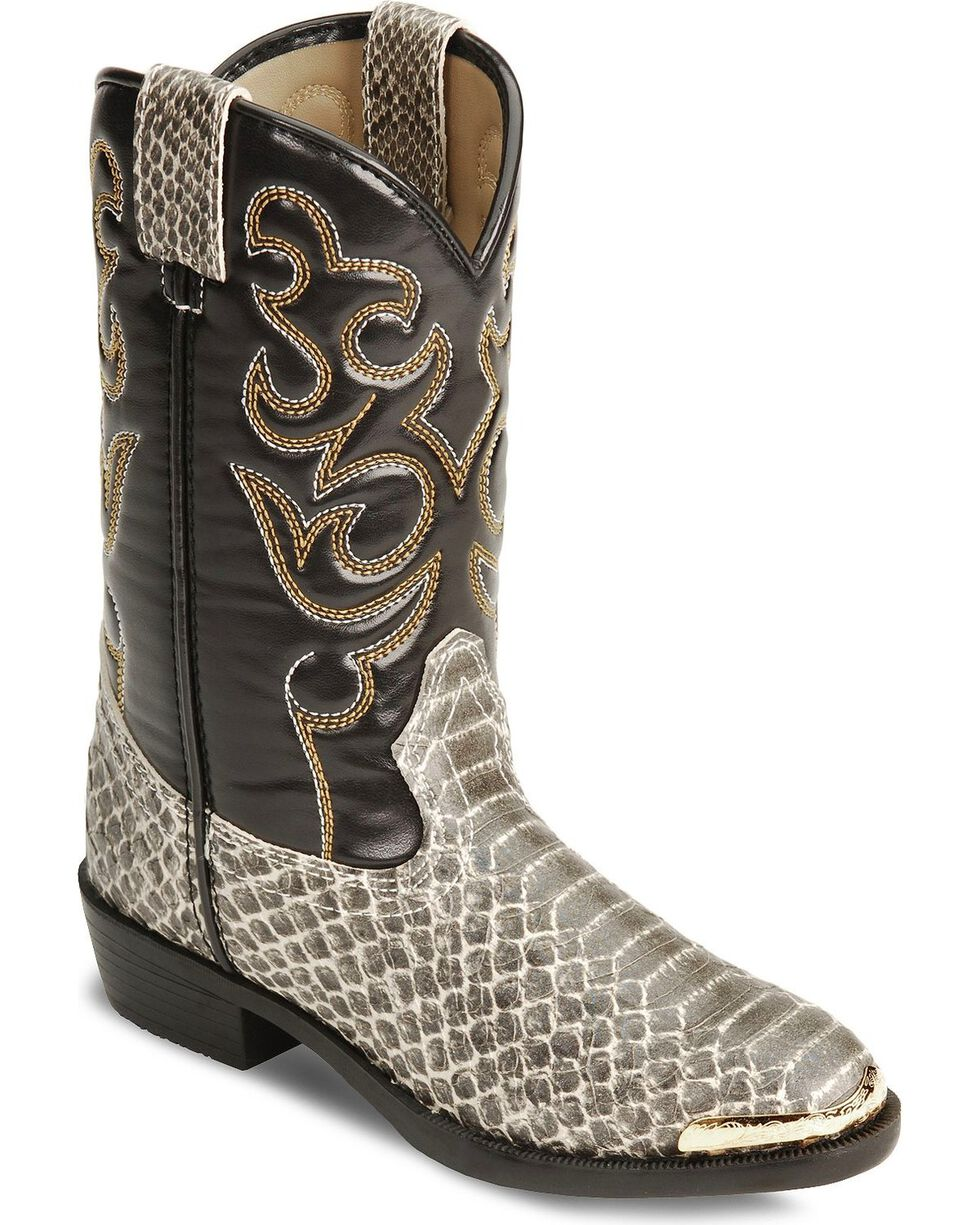 Smoky Mountain Boys' Snake Print Cowboy Boots - Round Toe, Grey, hi-res