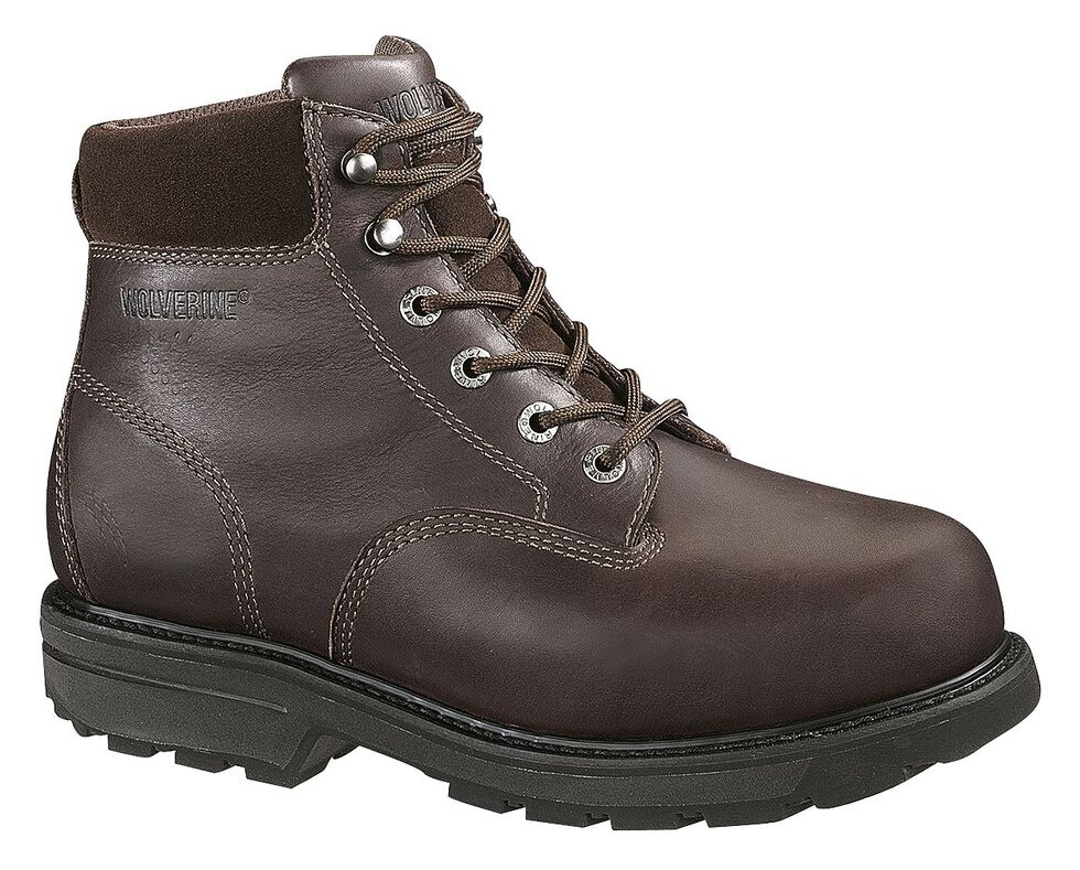 "Wolverine Cannonsburg 6"" Work Boots - Steel Toe, Brown, hi-res"