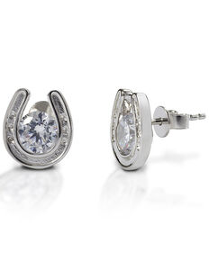 Kelly Herd Women's Horseshoe Stud Earrings , Silver, hi-res