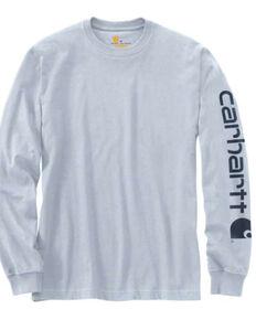 Carhartt Men's Blue Signature Sleeve Logo Long Sleeve Work T-Shirt - Big , Blue, hi-res