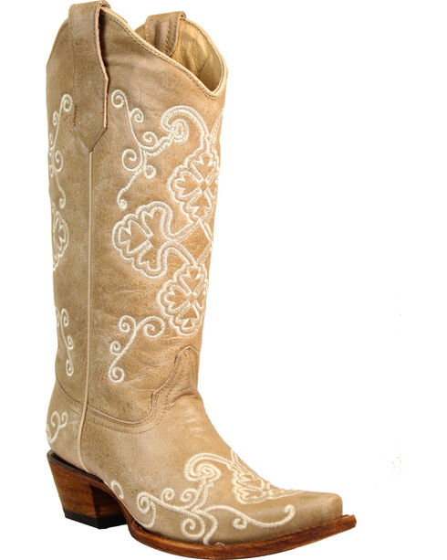 Corral Women's Bone Embroidered Cowgirl Boots - Snip Toe, Beige/khaki, hi-res