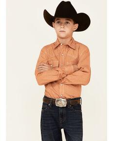 Cinch Boys' Brown Geo Print Long Sleeve Snap Western Shirt , Brown, hi-res