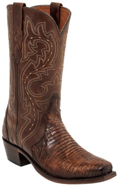 Lucchese Rust Dwight Lizard Cowboy Boots - Square Toe  , Russet, hi-res