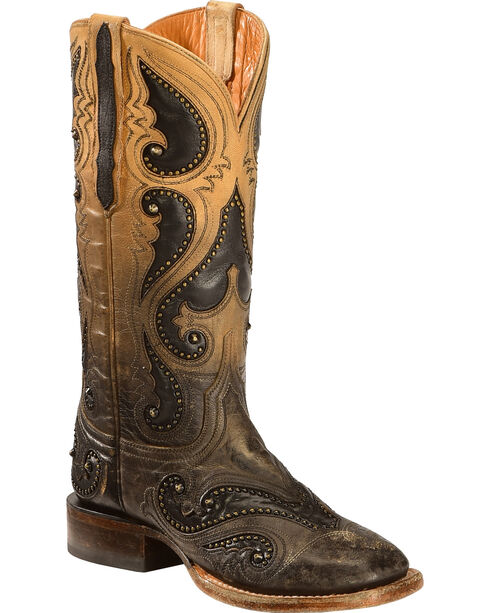 Lucchese Pearl Ombre Rita Cowgirl Boots - Square Toe , Light Brown, hi-res