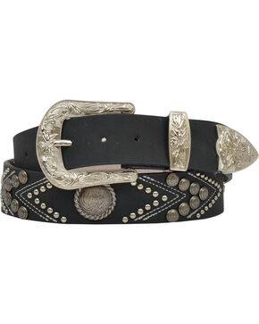 "Angel Ranch Women's 1.5"" Studs & Conchos Fashion Belt, Black, hi-res"