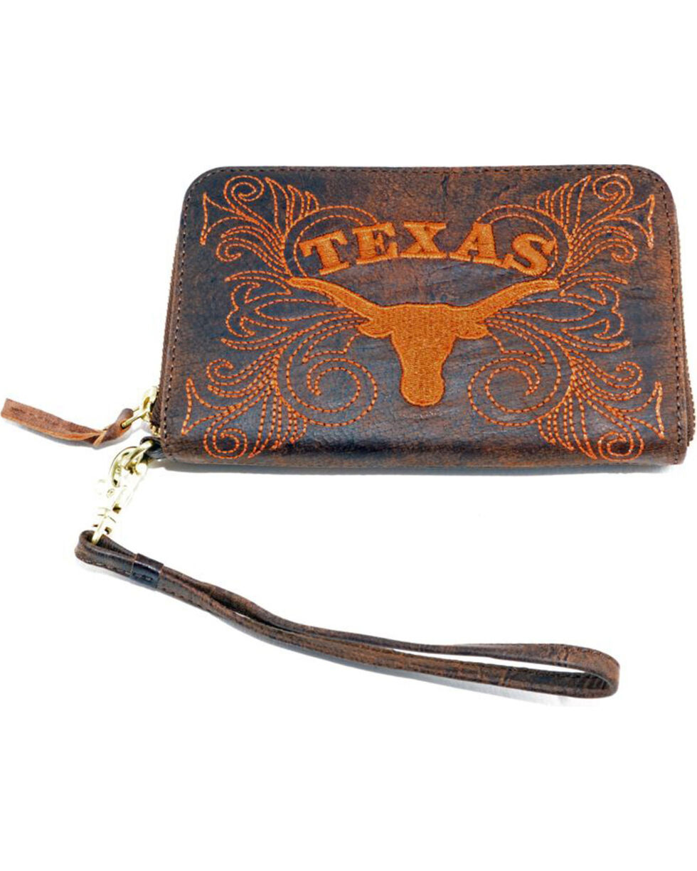 Gameday Boots University of Texas Leather Wristlet, Brass, hi-res
