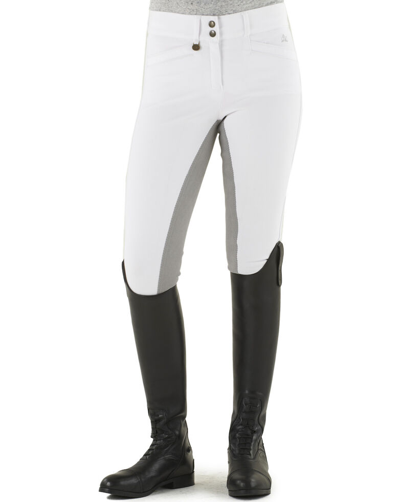 Ovation Women's Celebrity Slim Secret Full Seat Euroweave DX Breeches, White, hi-res