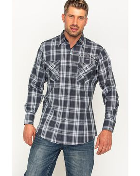 Jack Daniels Men's Black Plaid Logo Western Snap Shirt , Black, hi-res