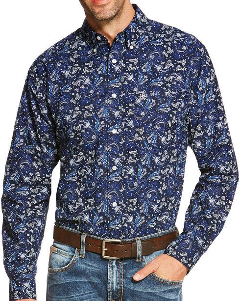 Ariat Men's Indigo Olex Print Long Sleeve Shirt , Indigo, hi-res