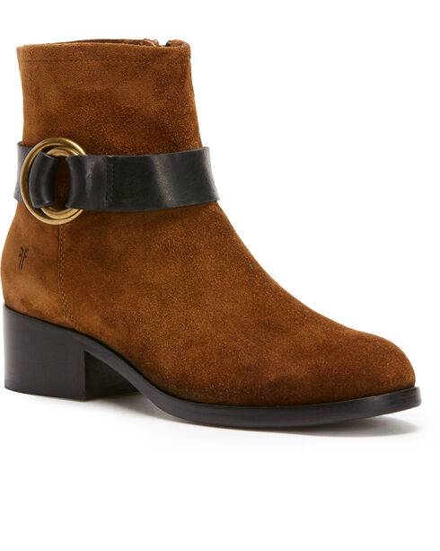 Frye Women's Chocolate Kristen Harness Short Boots - Round Toe , Medium Brown, hi-res