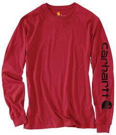 Carhartt Men's Workwear Logo Long Sleeve T-Shirt, Red, hi-res
