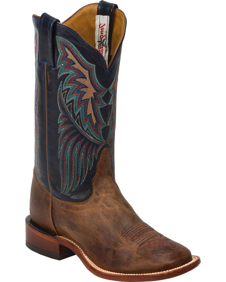 Tony Lama Tan Saigets San Saba Cowgirl Boots - Square Toe, Brown, hi-res