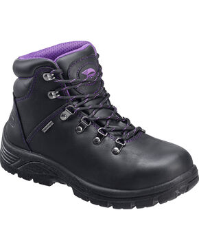 Avenger Women's Waterproof Hiker Work Boots - Steel Toe, Black, hi-res