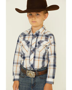 Roper Boys' White Plaid Long Sleeve Snap Western Shirt , White, hi-res