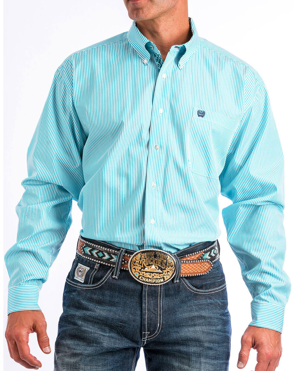 Cinch Men's Turquoise Long Sleeve Striped Western Shirt - Big , Turquoise, hi-res
