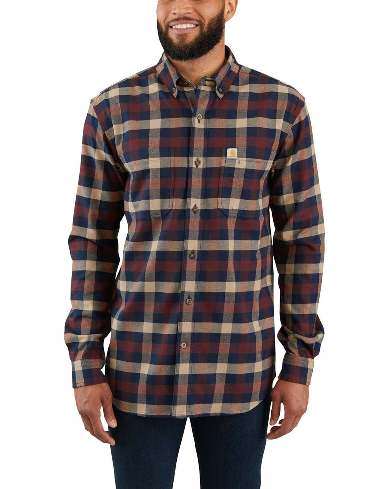 Carhartt Men's Rugged Flex Hamilton Plaid Long Sleeve Work Shirt - Tall , Beige/khaki, hi-res