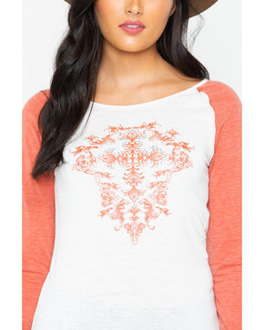 Cowboy Hardware Women's Cross Filigree Baseball Tee, Rust Copper, hi-res