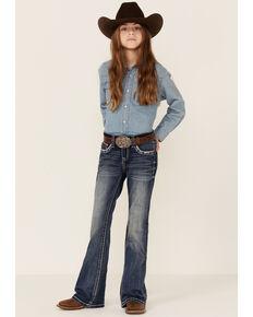 Grace In LA Girls' Medium Wash Longhorn Outline Pocket Bootcut Jeans , Blue, hi-res