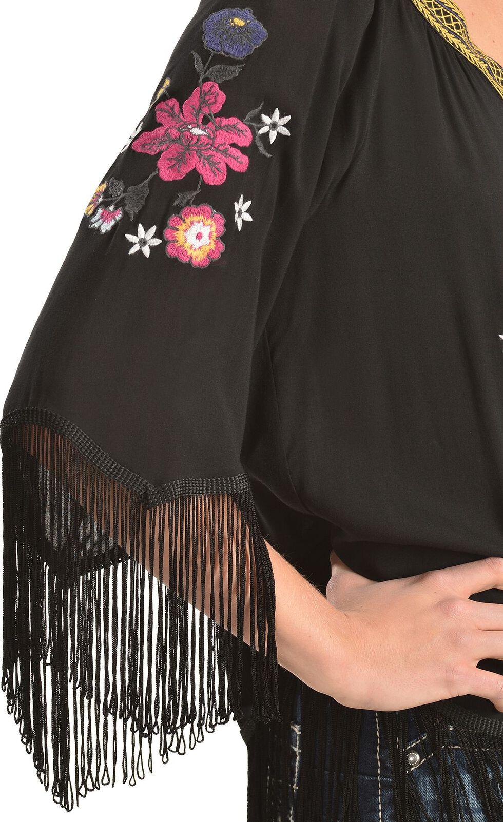 Ariat Lou Challis Embroidered Fringe Top, Black, hi-res
