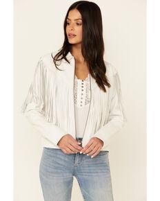 Idyllwind Women's White Day Off Fringe Zip-Front Leather Jacket  , Off White, hi-res