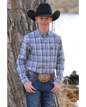 Cinch Boys' Plaid Button Long Sleeve Western Shirt , Multi, hi-res