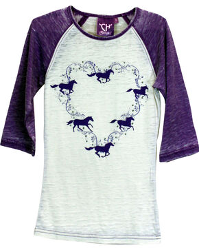 Cowgirl Hardware Girls' Heart and Horses 3/4 Raglan Sleeve T-Shirt, Purple, hi-res