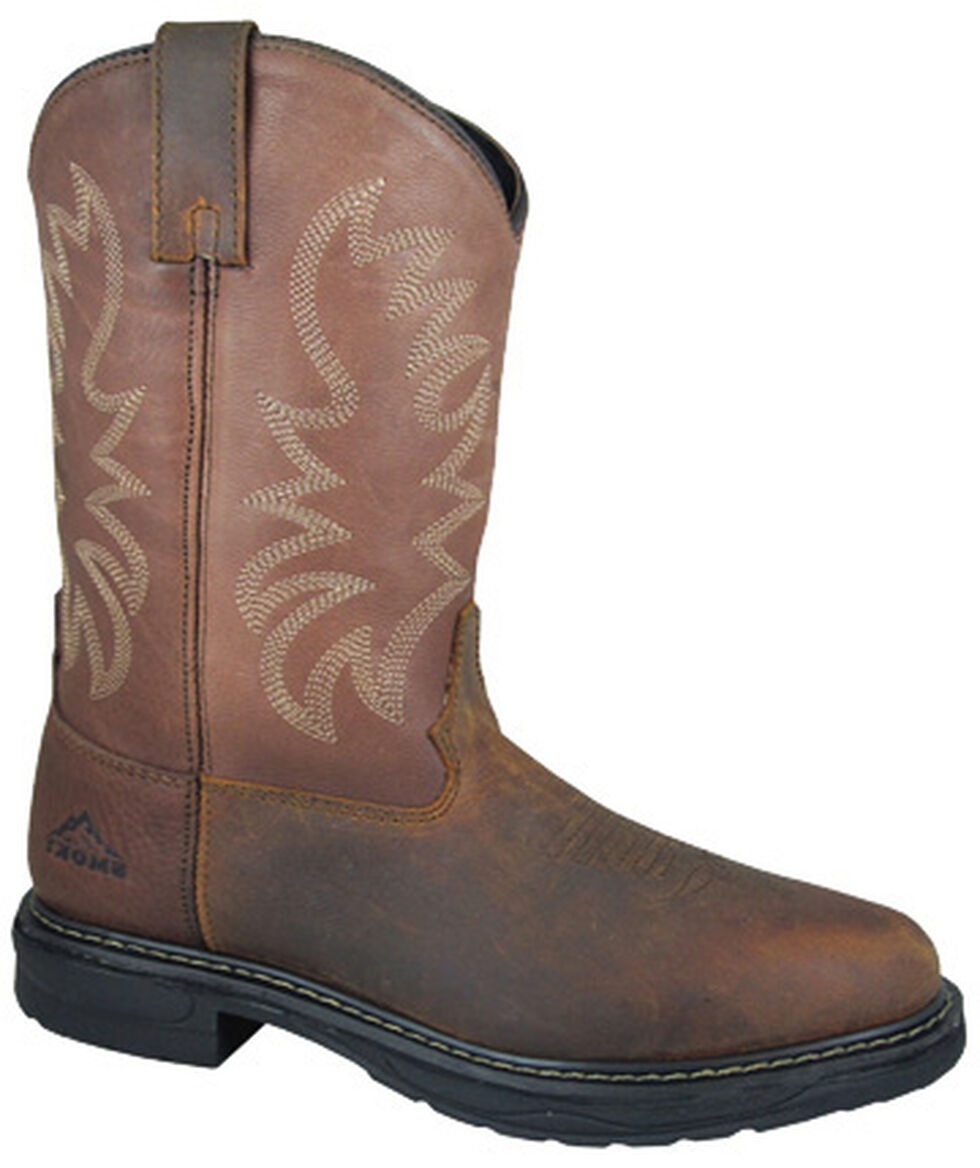 Smoky Mountain Men's Buffalo Wellington Work Boots - Steel Toe, Brown, hi-res