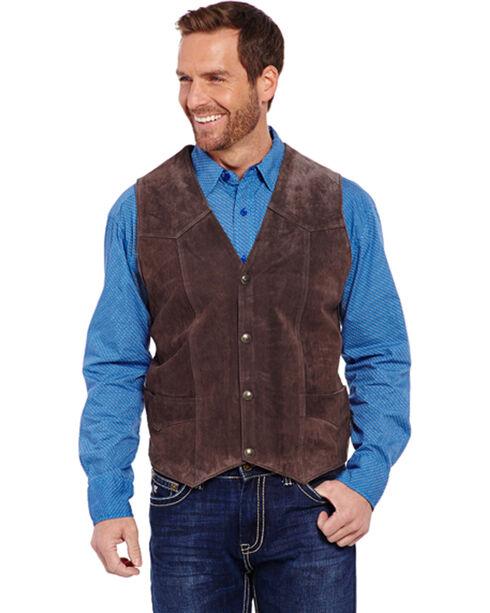 Cripple Creek Men's Brown Leather Suede Vest , , hi-res