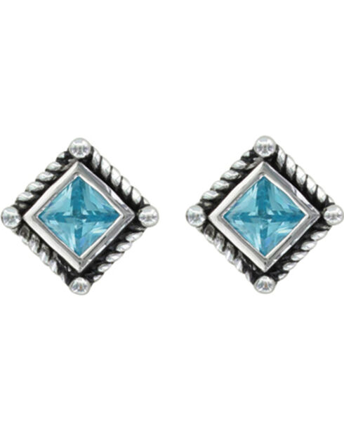 Montana Silversmiths Roped Blue Starlight Earrings, Silver, hi-res