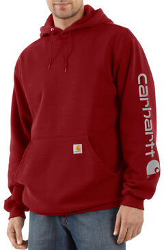 Carhartt Men's Midweight Logo Sleeve Hooded Sweatshirt, Red, hi-res