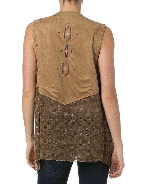 Miss Me Women's Tribal Faux Suede Vest, Taupe, hi-res