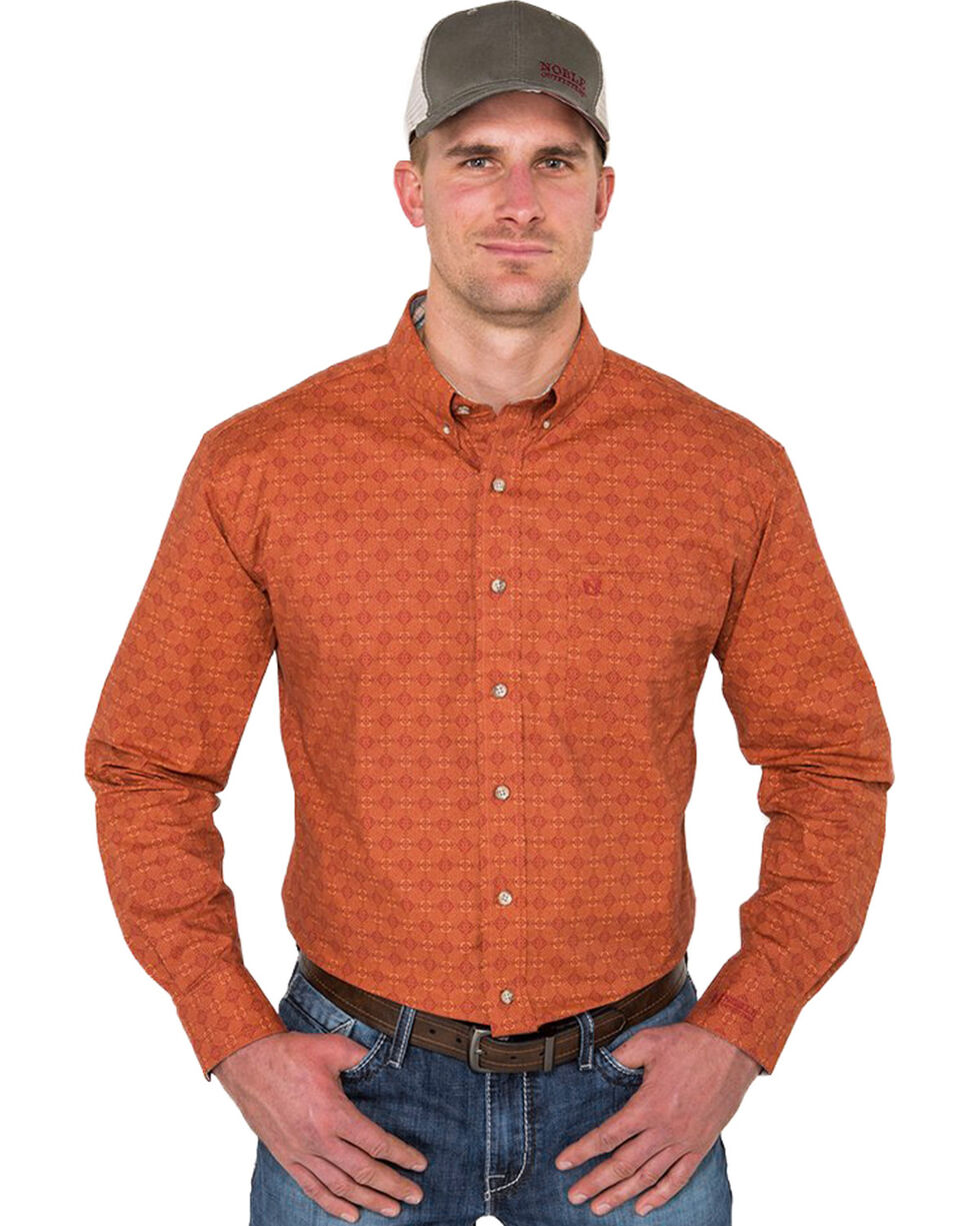 Noble Outfitters Men's Burnt Sienna Geo Print Shirt , Rust Copper, hi-res