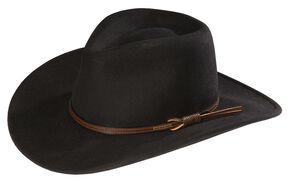 Stetson Bozeman Wool Felt Crushable Cowboy Hat, Black, hi-res