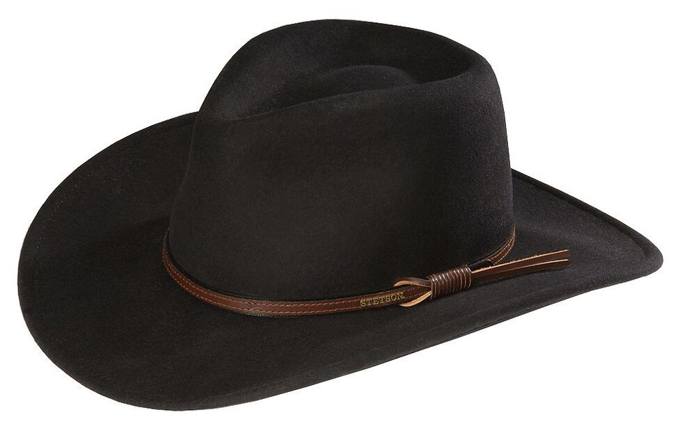 Stetson Bozeman Wool Felt Crushable Cowboy Hat, Black, hi-res