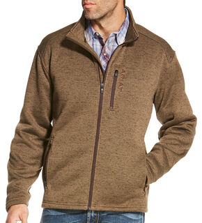 Ariat Men's Light Brown Caldwell Full Zip Sweater Jacket, Light Brown, hi-res