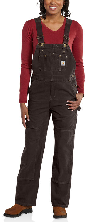 Carhartt Women's Sandstone Unlined Bib Overalls, Dark Brown, hi-res
