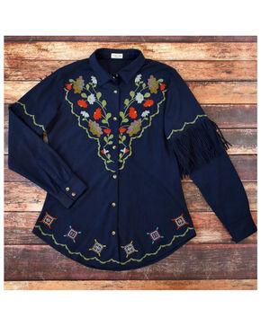 Tasha Polizzi Women's Embroidered Sophia Fringe Shirt , Indigo, hi-res